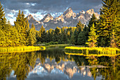 Water reflection of the Teton Range, taken from the end Schwabacher Road, Grand Teton National Park, Wyoming, United States of America, North America
