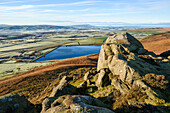 Early morning view in late autumn from Embsay Crag, overlooking the reservoir and Pendle Hill beyond, North Yorkshire, Yorkshire, England, United Kingdom, Europe