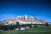 Evening view of the massif of the Odle-Villnoss in the Odle-Puez Nature Park, South Tyrol, Italy, Europe