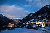 The fairy-tale village of Soglio lies on a ledge on the mountainside of Val Bregaglia, Canton of Graubunden, Switzerland, Europe