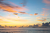 Dawn sky over the Indian Ocean from an island in the Maldives, Indian Ocean, Asia