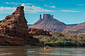 Couple kayaking down the Colorado River, Castle Valley near Moab, Utah, United States of America, North America
