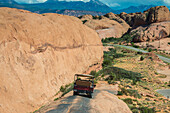 Hummer driving on the Slickrock trail, Moab, Utah, United States of America, North America