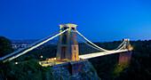 Clifton Suspension Bridge lit up at night, Bristol, England, United Kingdom, Europe