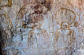 Aboriginal Wandjina cave artwork in sandstone caves at Bigge Island, Kimberley, Western Australia, Australia, Pacific