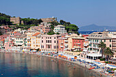 Baia del Silenzio Bay, beach, Grand Hotel dei Castelli, Sestri Levante, Province of Genoa, Riviera di Levante, Liguria, Italy, Europe