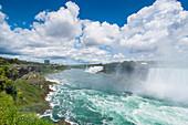 View over the America Falls and the Bridal Veil Falls, Niagara Falls, Ontario, Canada, North America
