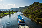 Cruise ship on the Moselle River passing Beilstein, Moselle Valley, Rhineland-Palatinate, Germany, Europe