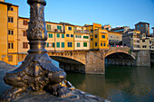 Ponte Vecchio over the River Arno at sunset, Florence, UNESCO World Heritage Site, Tuscany, Italy, Europe