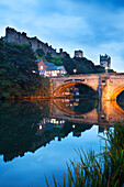 Durham Castle and Cathedral above Framwellgate Bridge, Durham, County Durham, England, United Kingdom, Europe