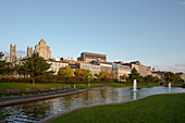 An early morning view of the Montreal skyline from the Parc des Ecluses, Montreal, Quebec Province, Canada, North America