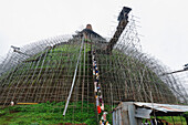 Workers and scaffolding on the Abhayagiri Dagoba, Anuradhapura, UNESCO World Heritage Site, Sri Lanka, Asia