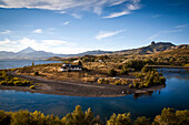View over Lanin volcano and Lago Huechulafquen, Lanin National Park, Patagonia, Argentina, South America