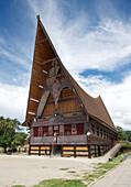 Large Batak style Catholic church with beautiful traditional Batak painted carving, Pangururan, Samosir Island, Sumatra, Indonesia, Southeast Asia, Asia