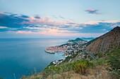 Dubrovnik Old Town and Mount Srd at sunrise, Dalmatian Coast, Adriatic, Croatia, Europe