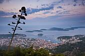 Hvar Town and the Pakleni Islands (Paklinski Islands) at night, Dalmatian Coast, Adriatic Sea, Croatia, Europe