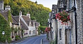 Pretty cottages in the picturesque Cotswolds village of Castle Combe, Wiltshire, England, United Kingdom, Europe