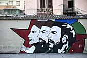 Revolutionary mural painted on wall, Havana Centro, Havana, Cuba, West Indies, Central America