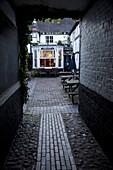 Back yard of Rose and Crown pub at dusk, Gloucester, Gloucestershire, England, United Kingdom, Europe