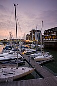 Yachts moored at Ocean Village Marina, Southampton, Hampshire, England, United Kingdom, Europe