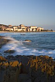 Old town and beach, L'lle Rousse, Corsica, France, Mediterranean, Europe
