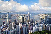 City skyline and Victoria Harbour viewed from Victoria Peak, Hong Kong, China, Asia