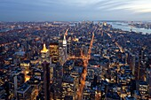 Elevated view of Mid-town Manhattan at dusk, New York City, New York, United States of America, North America
