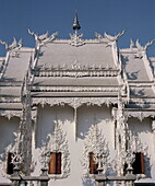 Modern Buddhist temple, designed and painted by noted artist Chalermchai Kositpipat, Wat Rong Khun, Chiang Rai, Northern Thailand, Thailand, Southeast Asia, Asia