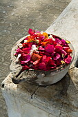 Marble bowl with floating flowers, Udai Vilas Palace, Dungarpur, Rajasthan state, India, Asia