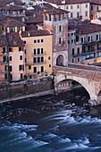 High view of city and Ponte Pietra, Verona, Veneto, Italy, Europe