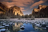 El Capitan, seen from the Merced River in winter, Yosemite National Park, UNESCO World Heritage Site, California, United States of America, North America