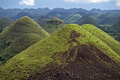 The Chocolate Hills, a famous geological curiosity, with over 1000 of them, on the island of Bohol, the Philippines, Southeast Asia, Asia