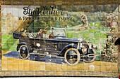 Old tile ad for Studbaker car, Tetuan Street near Sierpes Street, Seville, Andalusia, Spain, Europe