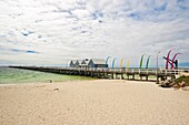 The Busselton Jetty, the longest in the southern hemisphere, originally the wooden jetty was built for the logging trade in the 1850, now a tourist attraction, Busselton, Western Australia, Australia, Pacific