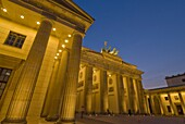 The Brandenburg Gate with the Quadriga winged victory statue on top, illuminated at night, Pariser Platz, Berlin, Germany, Europe