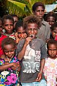 Cheerful indigenous children, Kopar, East Sepik Province, Papua New Guinea, South Pacific