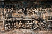 Relief carvings at Borobudur Temple, Borobodur, Central Java, Java, Indonesia, Asia