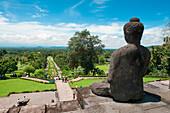 View from Borobudur Temple, Borobodur, Central Java, Java, Indonesia, Asia