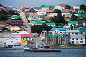 Pier and colorful houses in downtown, Stanley, Falkland Islands, British Overseas Territory