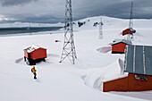 Snowed-in Argentine weather station (currently not staffed), Halfmoon Island, South Shetland Islands, Antarctica