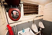 The men's room in the Victory Bar (there are obviously some lingering hard feelings about the Argentine invasion), Stanley, Falkland Islands, British Overseas Territory