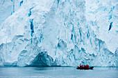 Zodiac dinghy excursion from expedition cruise ship MS Hanseatic (Hapag-Lloyd Cruises) through icy landscape, Paradise Bay (Paradise Harbor), Danco Coast, Graham Land, Antarctica