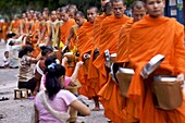 Monks processing at dawn for alms of rice in Luang Prabang, Laos, Indochina, Southeast Asia, Asia