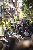 Crowds walking down street in the Lower town, Old Quebec, Quebec City, Quebec, Canada, North America