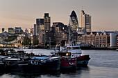 City skyline with Heron Tower at dusk, London, England, United Kingdom, Europe
