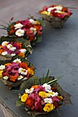 Diyas (floral floats) for sale on Rishikesh ghats, Rishikesh, Uttarakhand, India, Asia