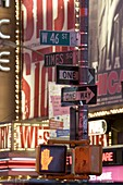 Neon signs at night in Times Square, New York City, New York State, United States of America, North America