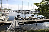 Yachts in marina, Leangbukta, Oslofjord, Norway, Scandinavia, Europe