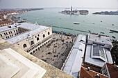 St. Marks Square looking over the Lido di Venezia to Isola di San Giorgio Maggiore, from Campanile, Venice, UNESCO World Heritage Site, Veneto, Italy, Europe
