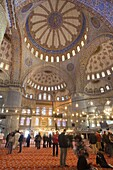 Interior Blue Mosque open for tourists and pilgrim built by Sultan Ahmet I in 1609, designed by architect Mehmet Aga, Istanbul, Turkey, Europe